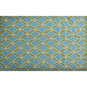 Hutchinson Hand-Hooked Green/Blue Area Rug