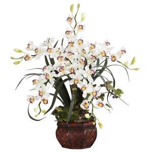 Silk Cymbidium in White with Decorative Vase