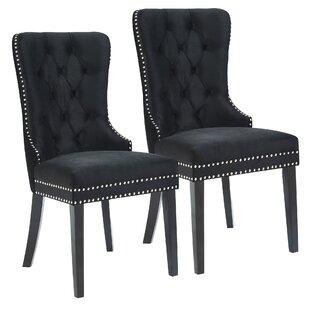 Melendy Velvet Side Upholstered Dining Chair (Set of 2)