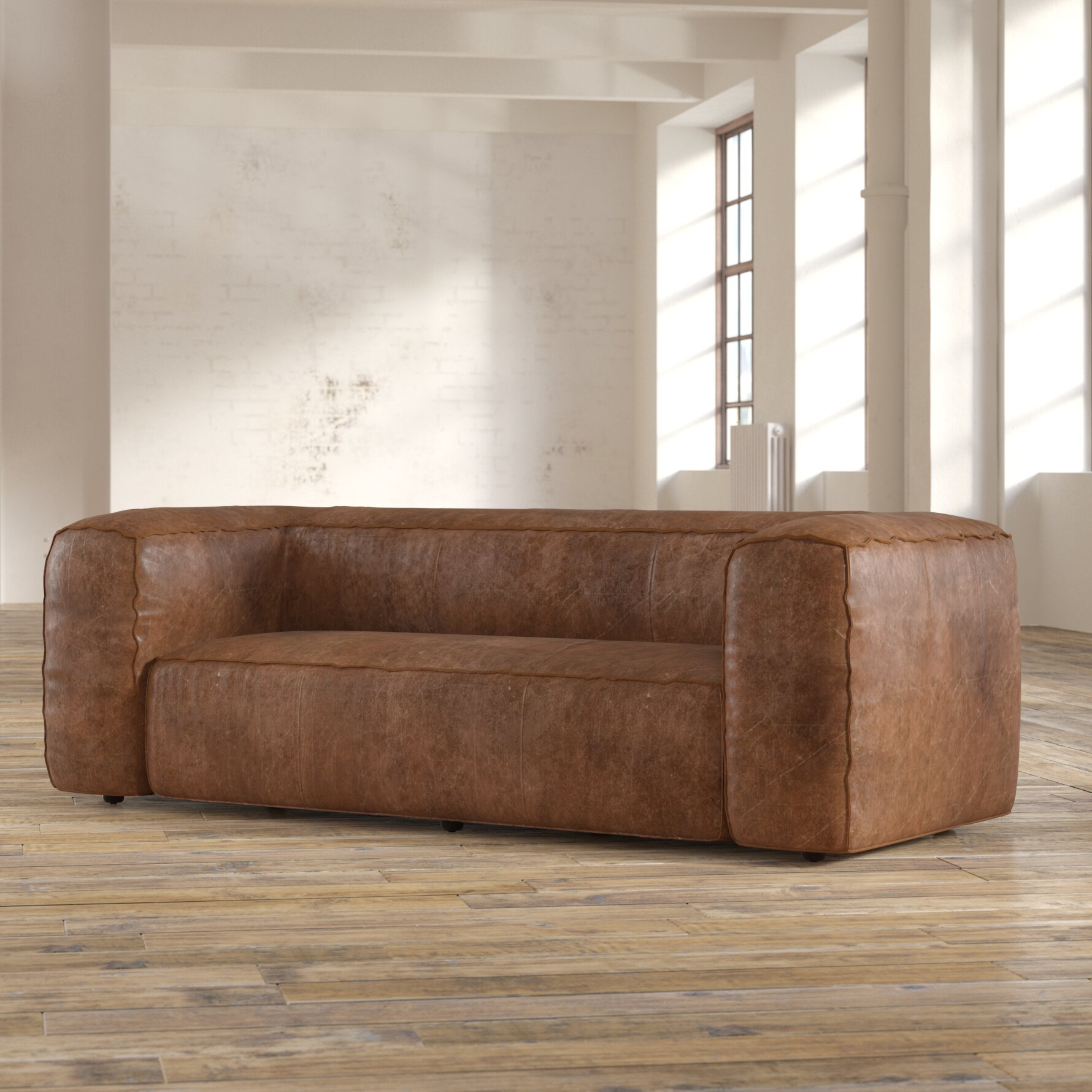 17 Stories Annessia Leather Sofa & Reviews | Wayfair