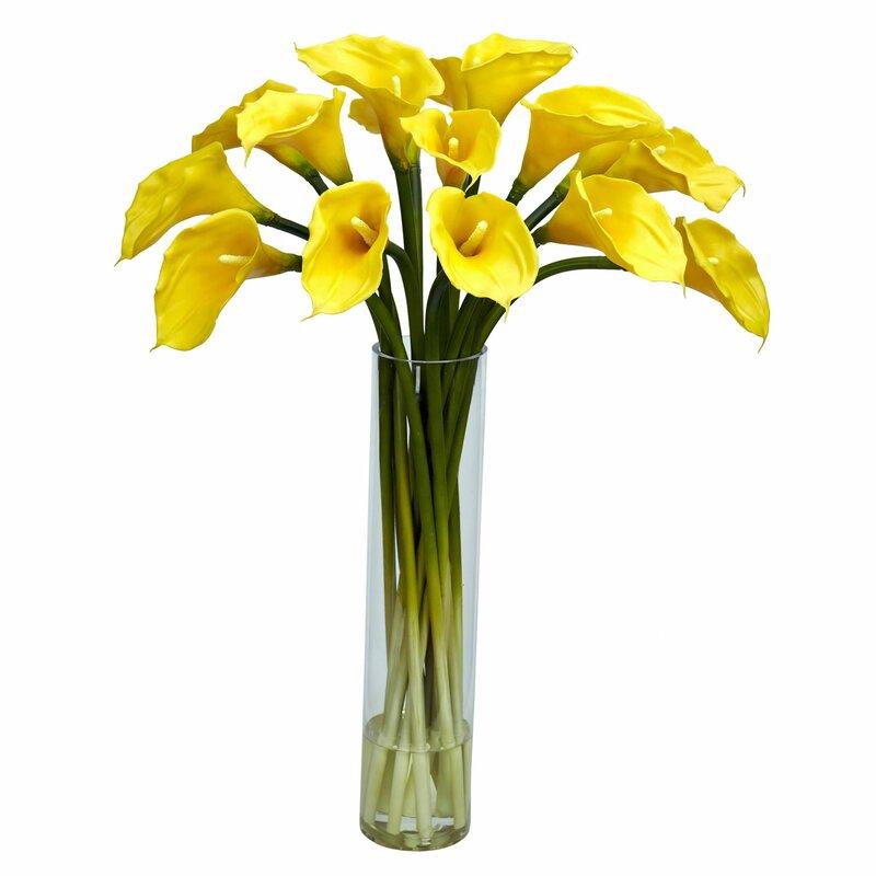 Calla Lilly With Cylinder Silk Flower Arrangement In Gl Vase