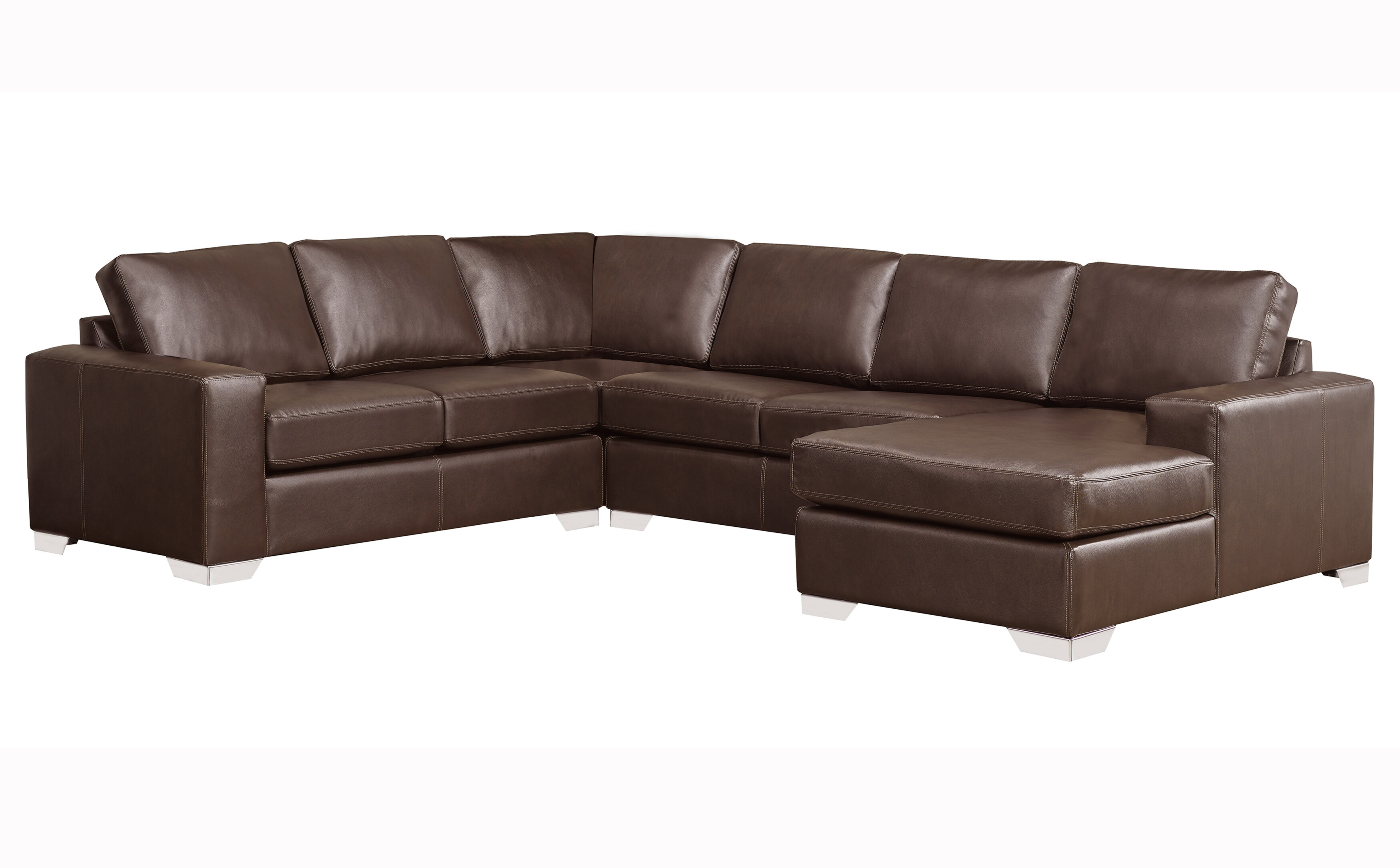 Crooke Premium Top Grain Italian Leather Right Hand Facing Sectional