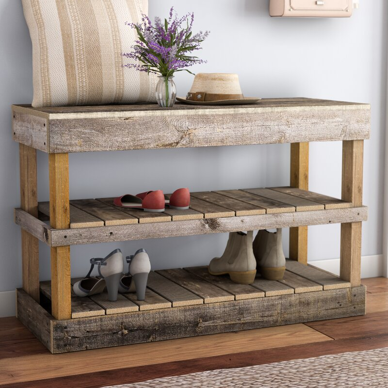 Barnwood 8 Pair Shoe Storage Bench