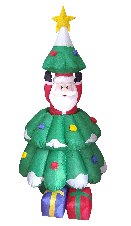 Three Posts Christmas Inflatables Animated Santa and Tree Decoration ...
