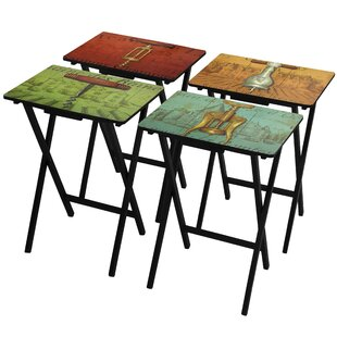 4 Piece Vineyards Of France Tv Tray Set With Stand