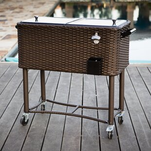 80 qt wicker patio rolling cooler - Patio Coolers