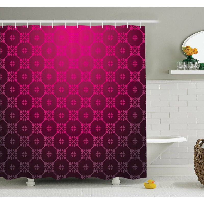 Medieval Style Endless Bound Square Shaped Stripe Middle Age Damask Motif Shower Curtain Set