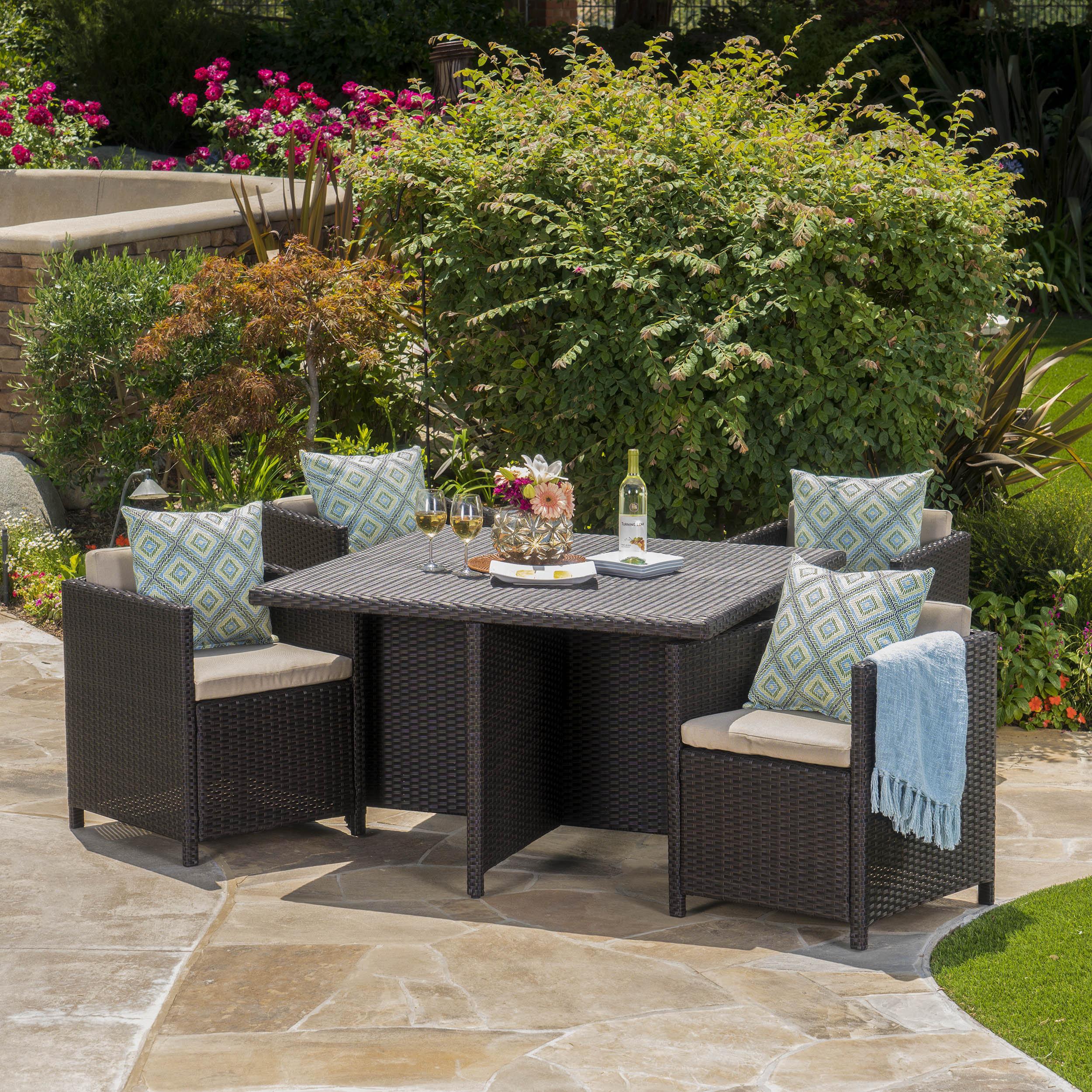 Willa Arlo Interiors Bashir Outdoor Wicker Dining Set With Cushions U0026  Reviews   Wayfair