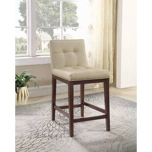 Stolle Upholstered Counter Stools Beige and Cappuccino (Set of 2) (Set of 2)