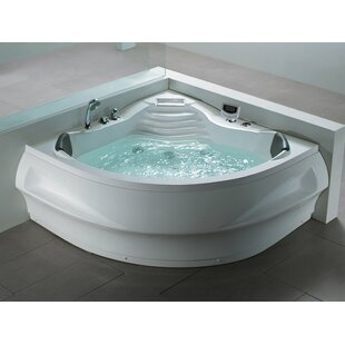 Champagne 2100mm x 1500mm Back to Wall Whirlpool Bathtub with 8 Jets by Belfry Bathroom