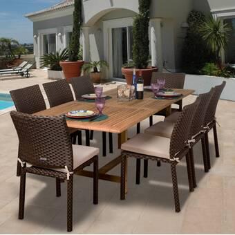 a4475826c8e01 Three Posts Northridge 9 Piece Sunbrella Dining Set with Cushion ...