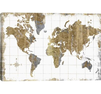 Williston Forge 'Gilded Map' Graphic Art Print Size: 26 H x 40 W x 0.75 D, Format: Canvas