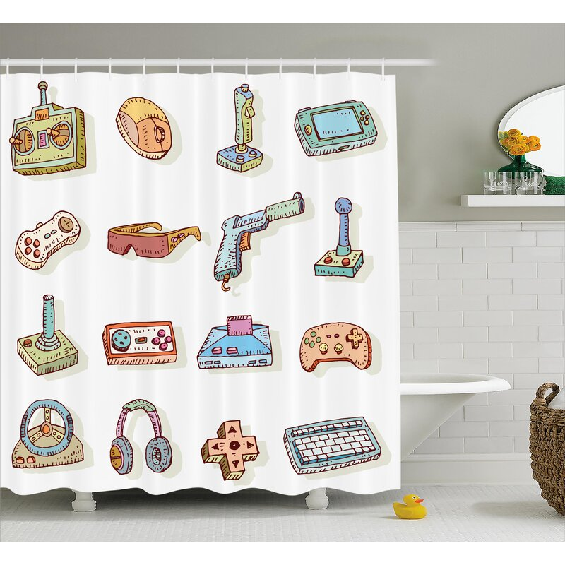 Beeler Games Retro 90s Artsy Shower Curtain