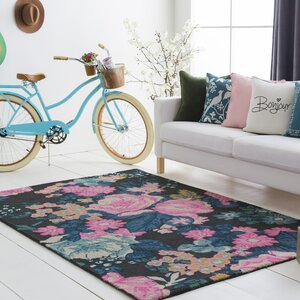 Ladner Hand Tufted Wool Pink/Blue Area Rug