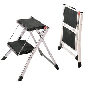 2-Step Steel Step Stool with 225 lb. Load Capacity