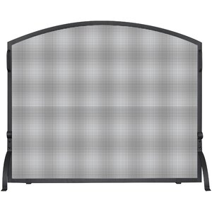 Single Panel Wrought Iron Arch Top Fireplace Screen