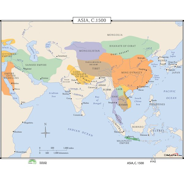 Universal Map World History Wall Maps   Asia c.1500 | Wayfair