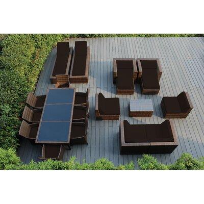 Orren Ellis Baty 20 Piece Complete Patio Set with SUNBRELLA Cushions Cushion Color: Sunbrella Bay Brown, Frame Finish: Mixed Brown