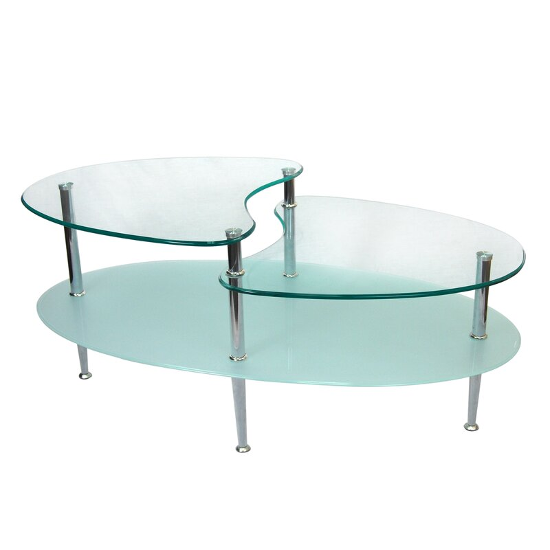 Wrought Studio Cate Glass Oval Coffee Table Reviews Wayfair