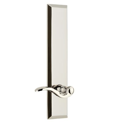 "Fifth Avenue Tall Plate Privacy Door Lever Grandeur Finish: Polished Nickel, Backset: 2-3/4"", Lever Orientation: Left"