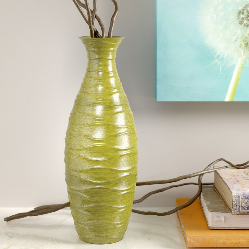 Winston Porter Jarnigan Decorative Wood Horizontal Wave Design Vase