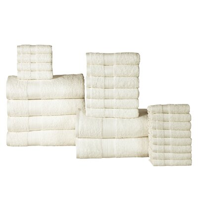 The Twillery Co. Arias 24 Piece 100% Cotton Towel Set Color: Ivory