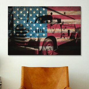 Firefighters Vintage Fire Truck USA Flag Graphic Art On Canvas