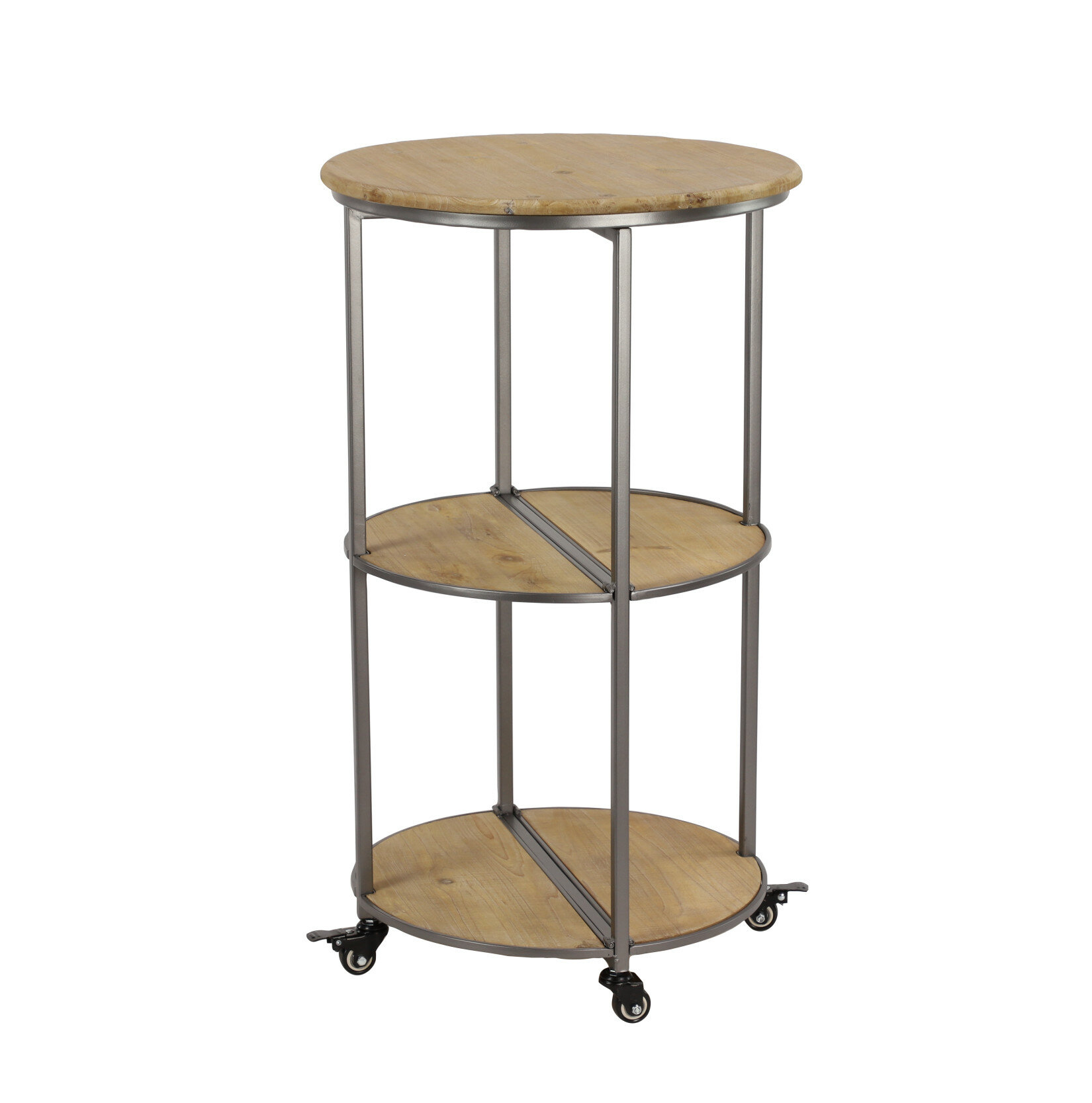 Beau Williston Forge Ramos Round Collapsible Rolling Bar Cart | Wayfair