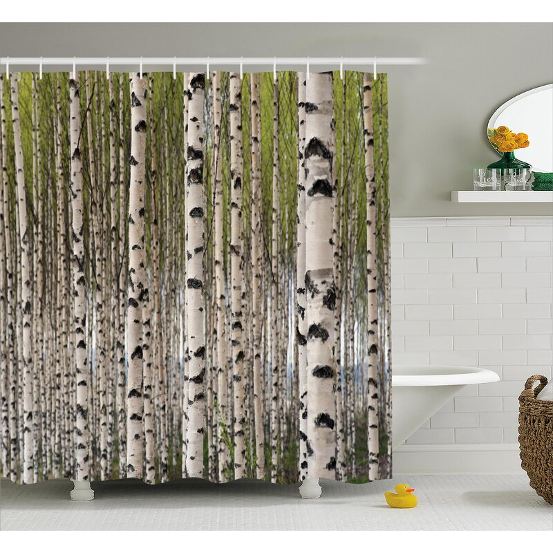 East Urban Home Tree Birch Trees with Leaves Shower Curtain | Wayfair