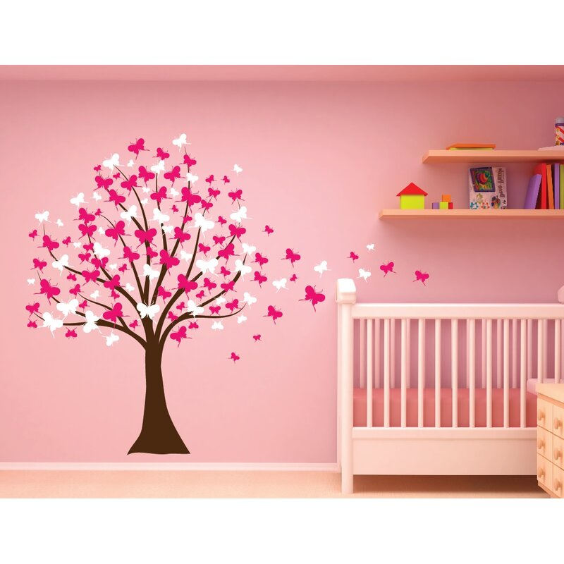 Innovative Stencils Butterfly Cherry Blossom Tree Baby Nursery Wall Decal |  Wayfair