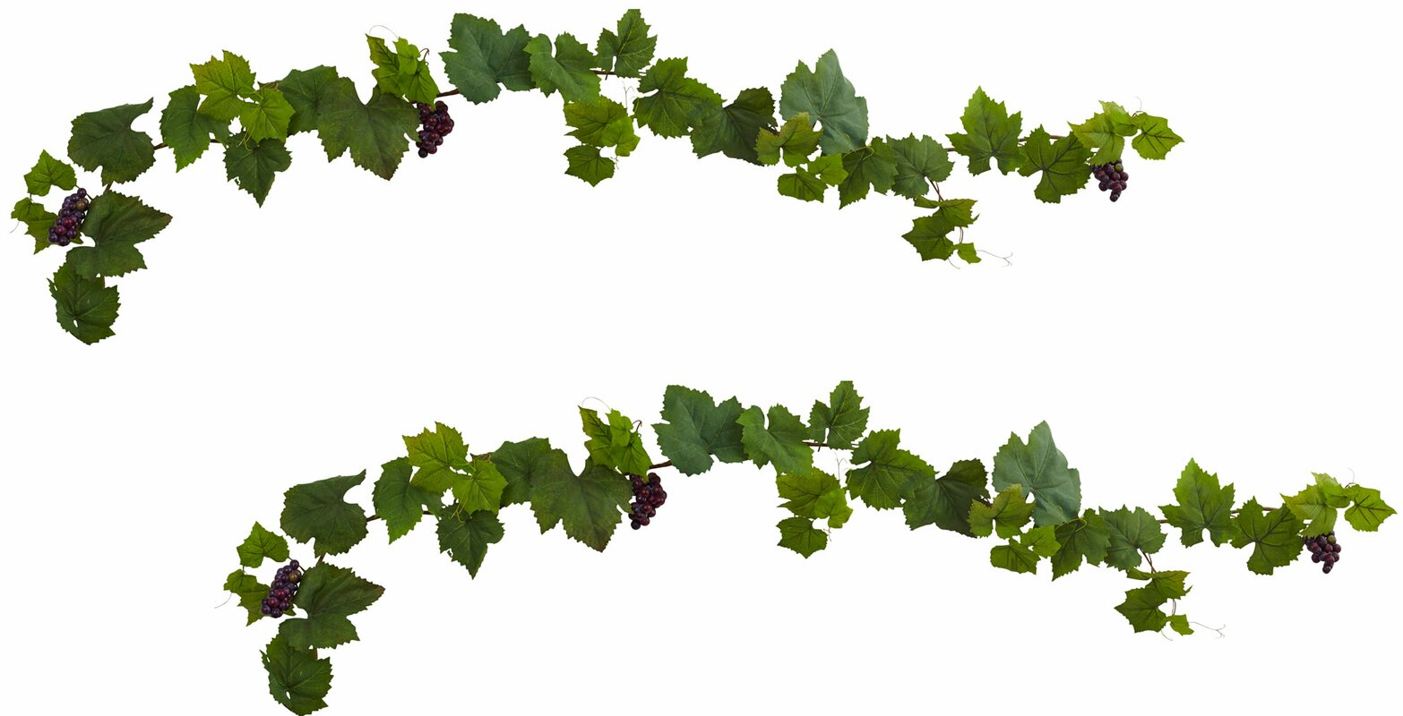 nearly natural grape leaf deluxe garland with grapes