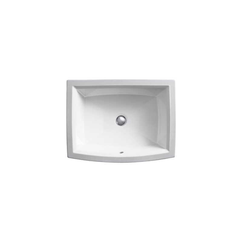 Archer Ceramic Rectangular Undermount Bathroom Sink With Overflow