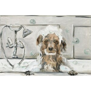'Bubble Bath Puppy' Oil Painting Print on Wrapped Canvas