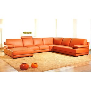 cana solid ushaped leather sectional