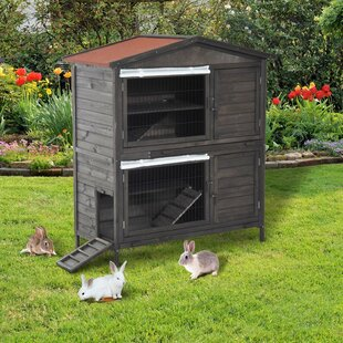 Gatun Wooden Double Decker Outdoor Rabbit Hutch With Cage Small Animal