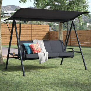 Marquette 3 Seat Cushion Porch Swing With Stand