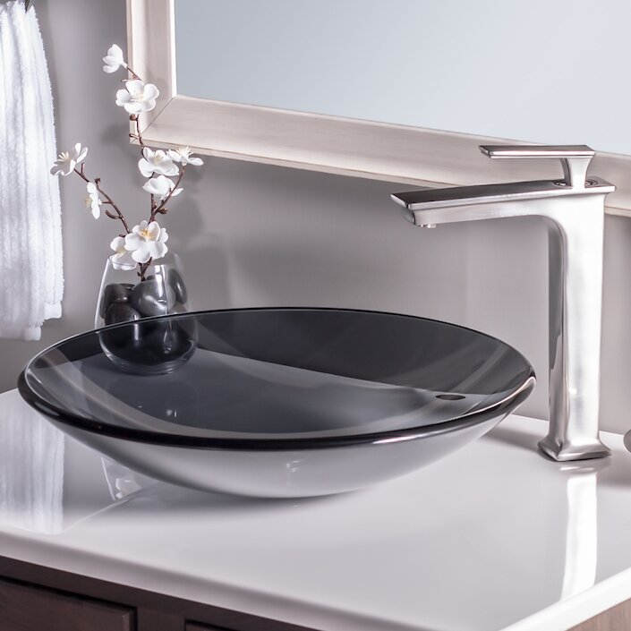 Novatto Low Profile Glass Circular Vessel Bathroom Sink Reviews - Low profile bathroom sink for bathroom decor ideas