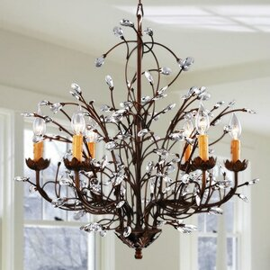 Crystal and Iron 6-Light Candle-Style Chandelier