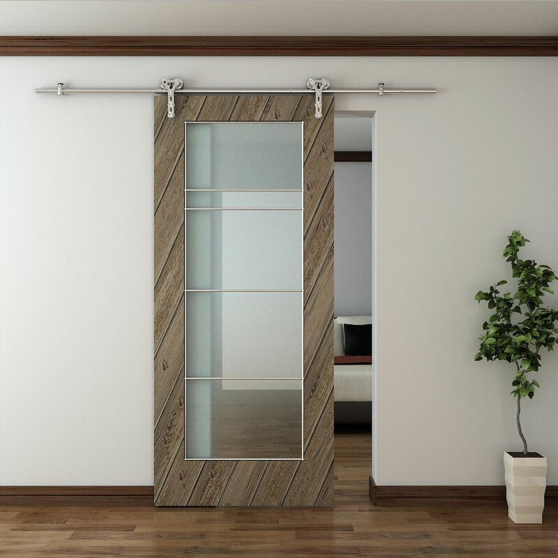 Modern Stainless Steel Style Wood Sliding Barn Door Hardware