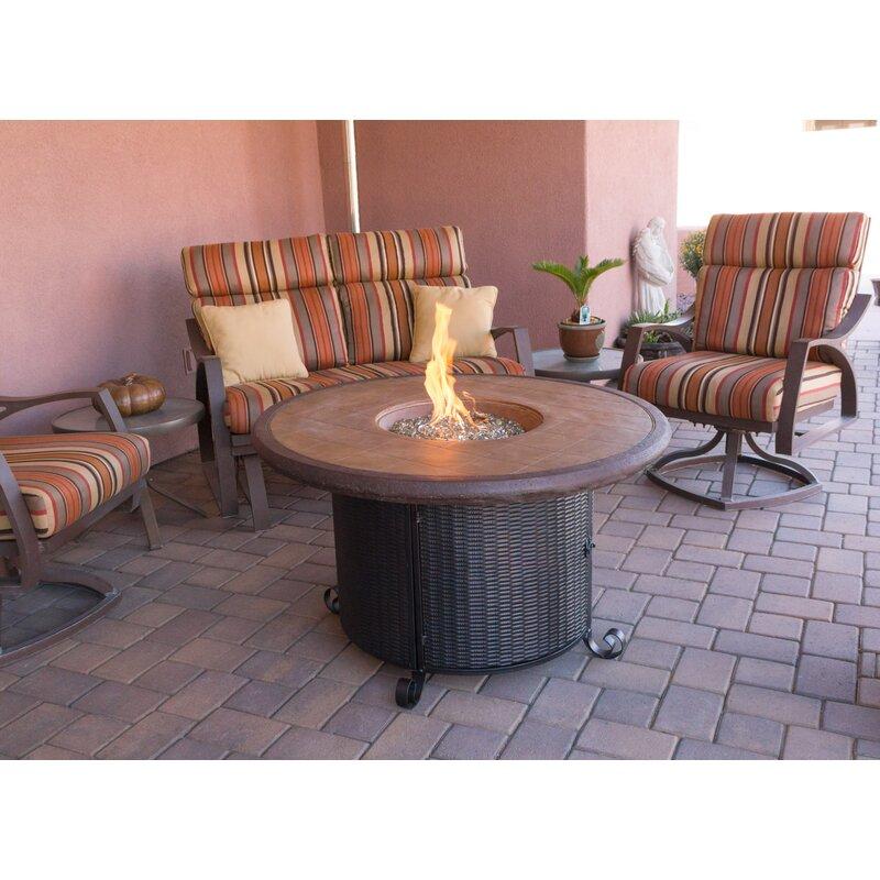 Wicker Propane Fire Pit Table