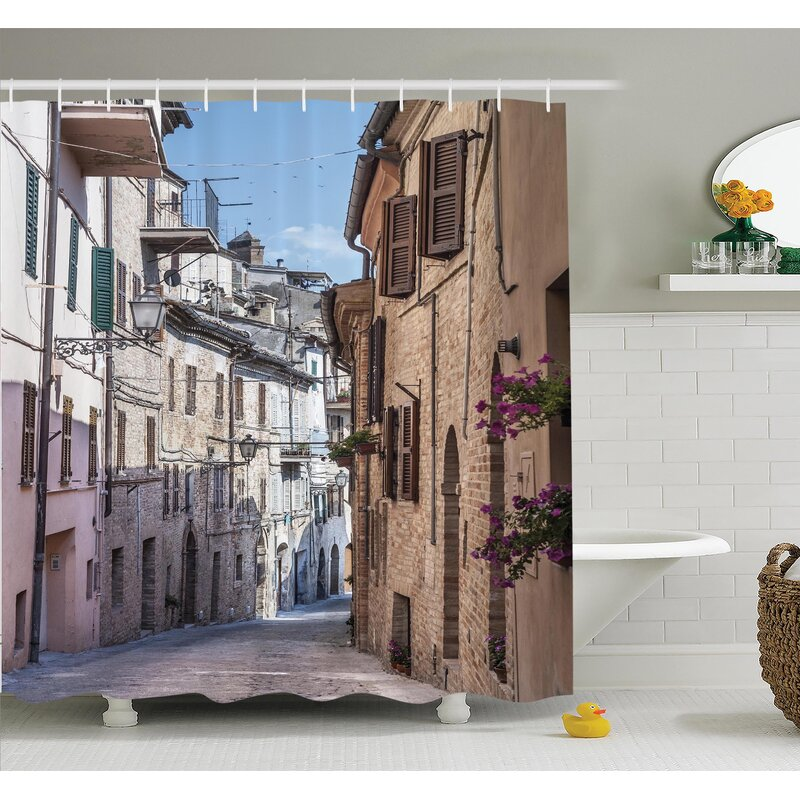 Italian Old Town Street Shower Curtain Set