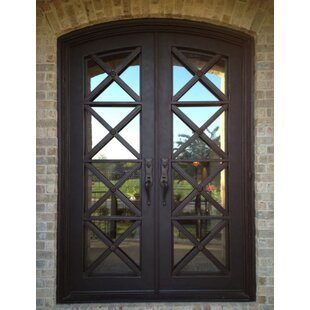 9d4ceea6823 Kyril Premium Arch Top Iron Prehung Front Entry Door