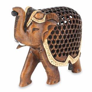 Dayal J Dani Hand Carved Wood Indian Jali Elephant Statue