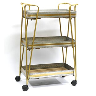 3-Tiered Metal Storage Utility Cart  sc 1 st  Wayfair & Metal Storage Cart On Wheels | Wayfair