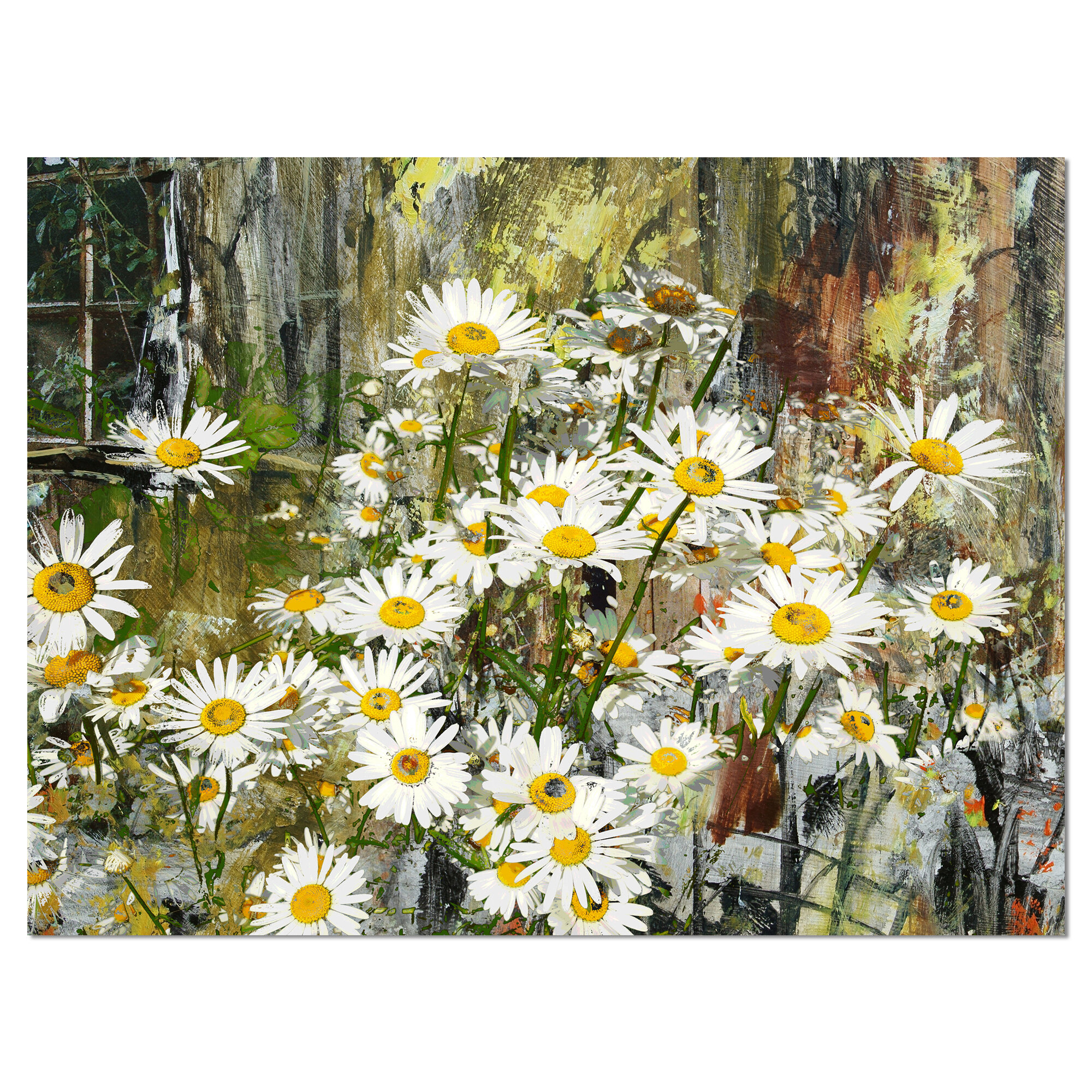 Designart Daisies Flowers Under The Window Painting Print On