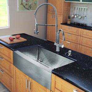 VIGO 33 inch Farmhouse Apron Single Bowl 16 Gauge Stainless Steel Kitchen Sink with Dresden Chrome Faucet, Grid, Strainer ...