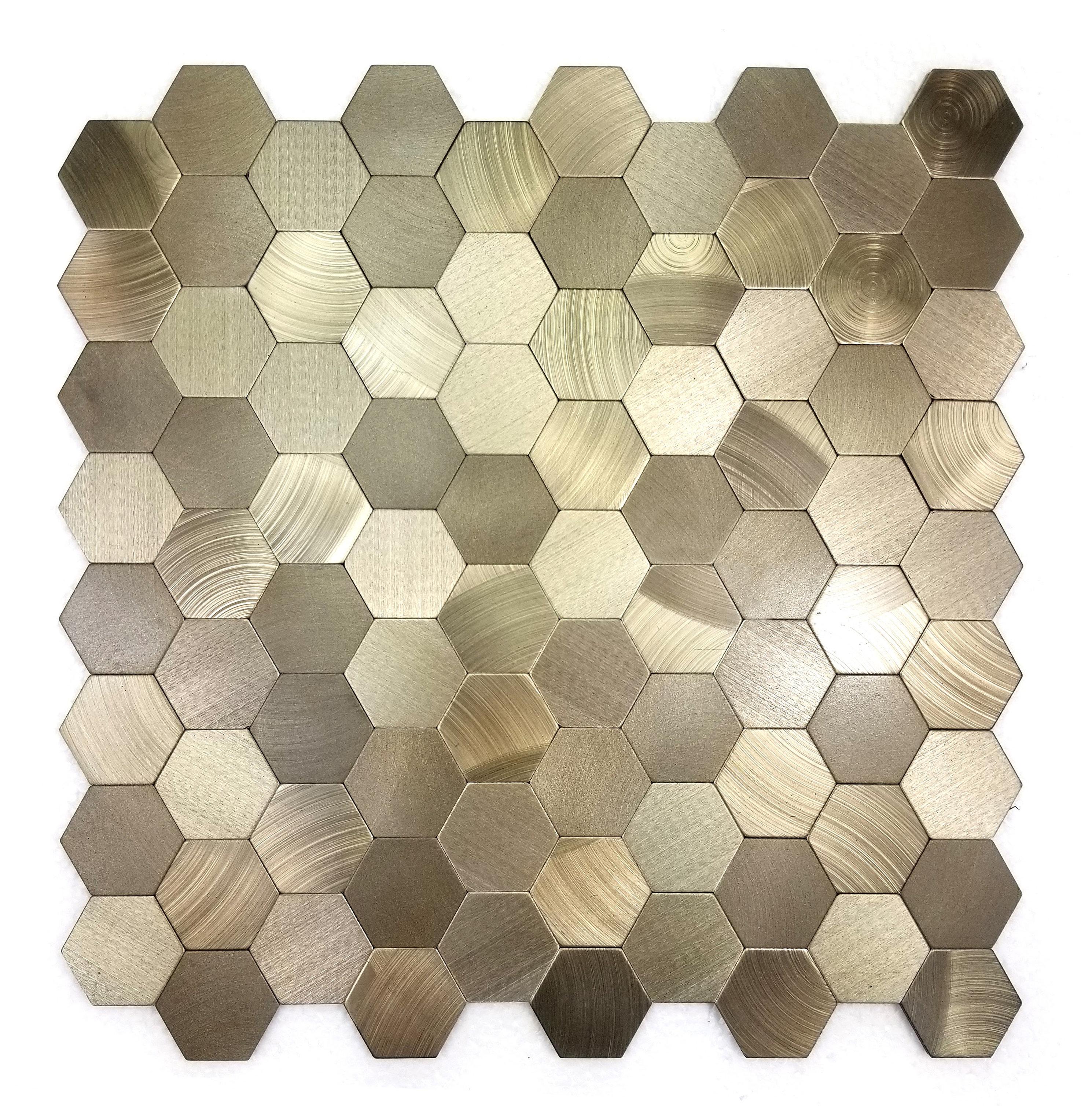 "Abolos Enchanting 1 5"" x 1 5"" Metal Mosaic Tile in Copper"