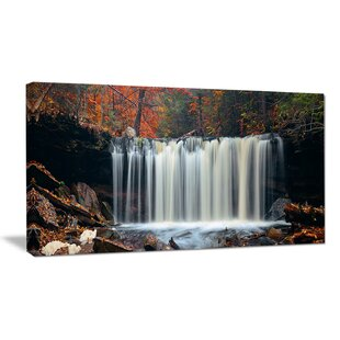 autumn waterfall with colorful foliage photographic print on wrapped canvas - Garden Waterfalls