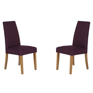 Solid Hardwood Upholstered Dining Chair Set Of 2 Purple Chairs Wayfair Co Uk