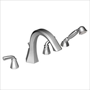 Felicity Double Handle Deck Mount Roman Tub Faucet Trim With Handshower  With Built In Hand